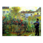 Renoir - pintura de Monet en su jardín Postales