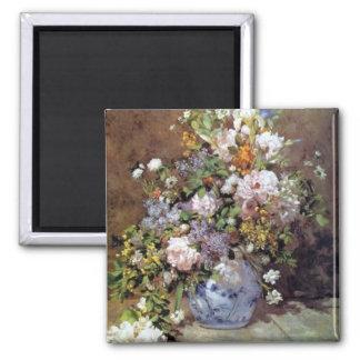 Renoir - ramo de la primavera imán cuadrado