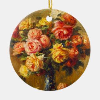 Renoir Roses in a Vase Ornament