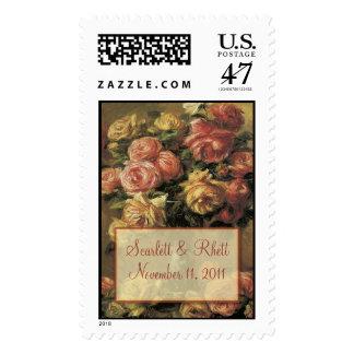Renoir Roses Wedding Large Postage