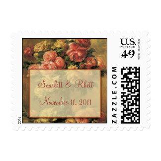 Renoir Roses Wedding Small Postage