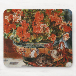 Renoir's Flowers and Cats Mouse Pad
