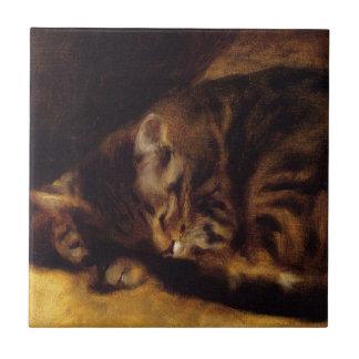 Renoir Sleeping Cat Tile