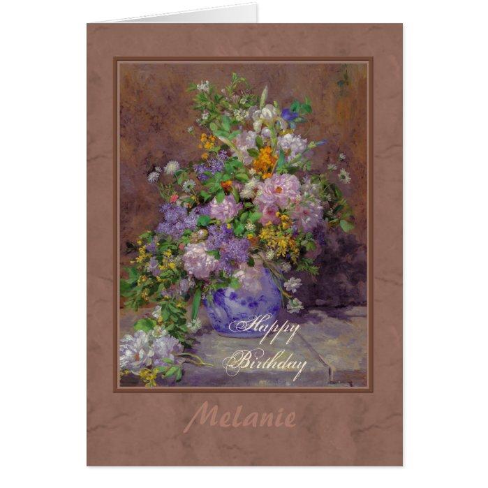 Renoir spring flower bouquet CC0864 Happy Birthday Card