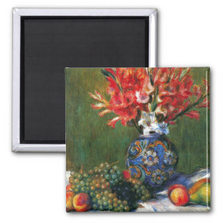 Renoir still life Flowers and Fruit art painting 2 Inch Square Magnet