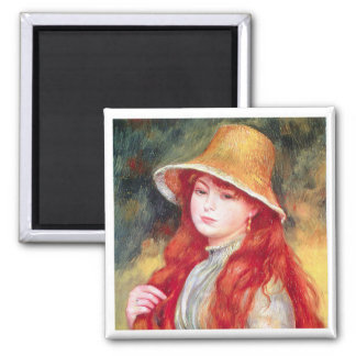 Renoir Straw Hat 2 Inch Square Magnet