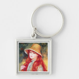 Renoir Straw Hat Silver-Colored Square Keychain