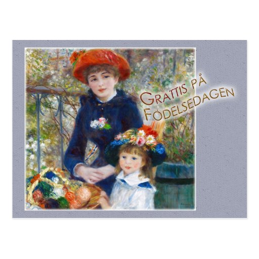Renoir Två systrar CC0399 Födelsdagskort Postcard