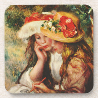 Renoir Two Girls Reading in the Garden Coasters