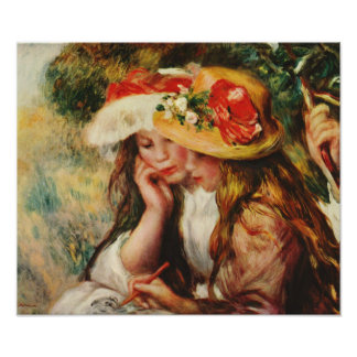 Renoir Two Girls Reading in the Garden Poster
