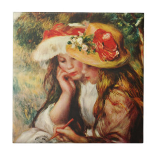 Renoir Two Girls Reading in the Garden Tile