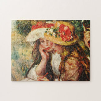 Renoir Two Girls Reading in the Garden Tile Puzzles