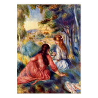 Renoir: Two Girls Sitting in Grass Large Business Card