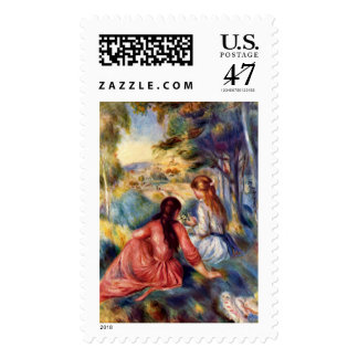 Renoir: Two Girls Sitting in Grass Postage
