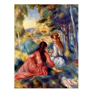Renoir: Two Girls Sitting in Grass Postcard