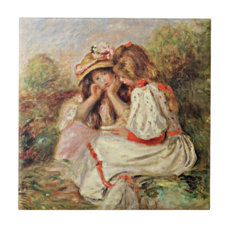 Renoir - Two Little Girls Small Square Tile