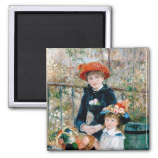 Renoir Two Sisters on Terrace Vintage Fine Art 2 Inch Square Magnet