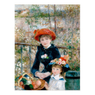 Renoir Two Sisters on Terrace Vintage Fine Art Postcard