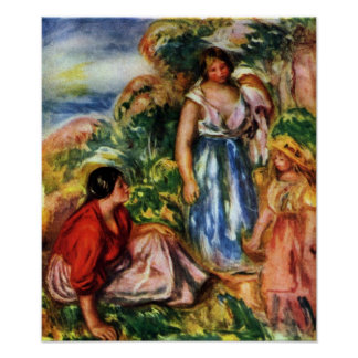 Renoir - Two women with young girls in a landscape Poster