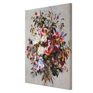 Renoir - un ramo de rosas impresión en lienzo