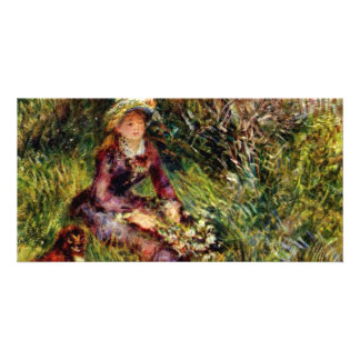 Renoir Woman With Dog By Pierre-Auguste Renoir (Be Customized Photo Card