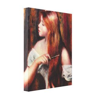 Renoir Young Girl Combing Her Hair Canvas Print