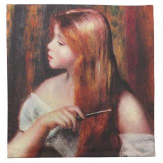Renoir Young Girl Combing Her Hair Napkins