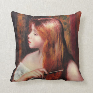 Renoir Young Girl Combing Her Hair Pillow