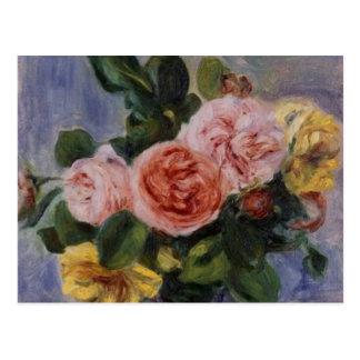 Renoir'a A Vase of Roses Still Life Postcard
