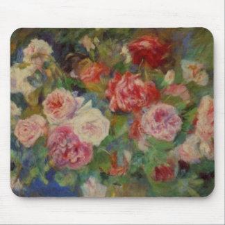 Renoir'a un florero todavía de los rosas de vida mousepads