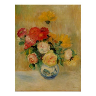 Renoir's A Vase of Roses and Dahlias Posters