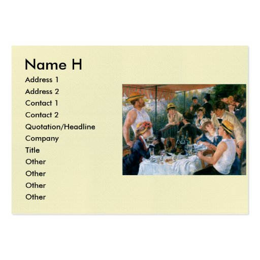 Renoir's Luncheon of the Boating Party (1881) Large Business Cards (Pack Of 100)