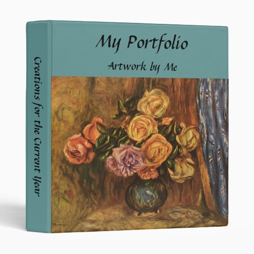 Renoir's Roses in Front of a Blue Curtain (1908) Vinyl Binders