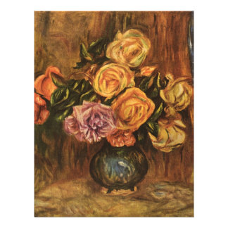 """Renoir's Roses in Front of a Blue Curtain (1908) 8.5"""" X 11"""" Flyer"""