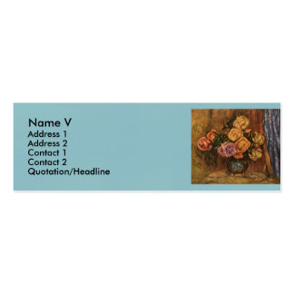 Renoir's Roses in Front of a Blue Curtain (1908) Mini Business Card