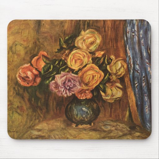 Renoir's Roses in Front of a Blue Curtain (1908) Mousepads