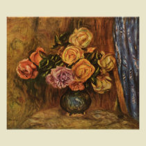 Roses in Front of a Blue Curtain