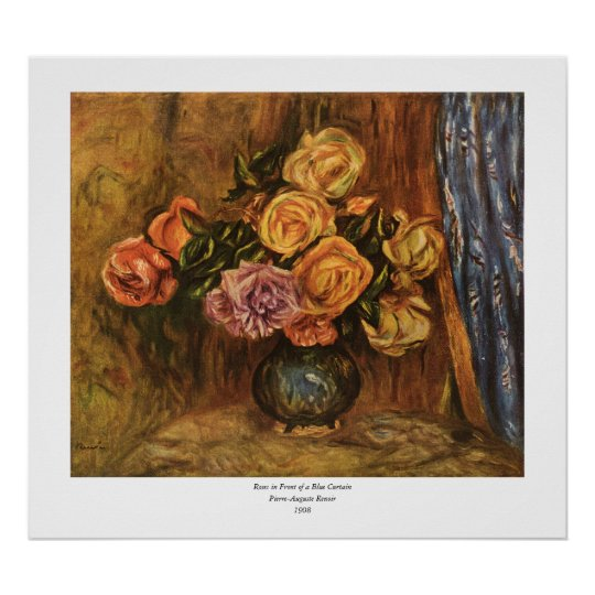 Renoir's Roses in Front of a Blue Curtain (1908) Poster
