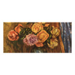 Renoir's Roses in Front of a Blue Curtain (1908) Personalized Rack Card