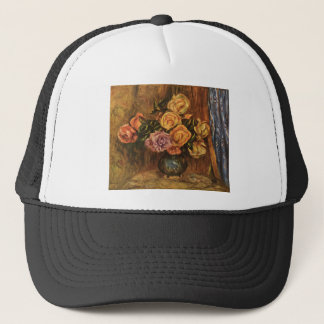 Renoir's Roses in Front of a Blue Curtain (1908) Trucker Hat