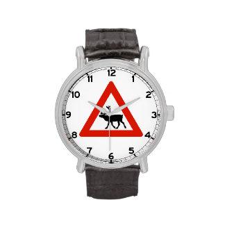 Renos de la precaución, señal de tráfico, Noruega Reloj De Mano