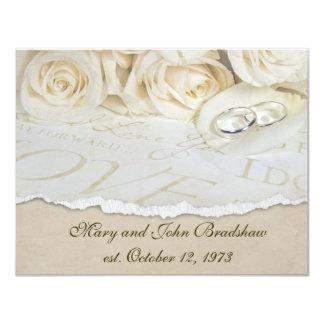 """Renovación del voto de boda de los rosas blancos invitación 4.25"""" x 5.5"""""""
