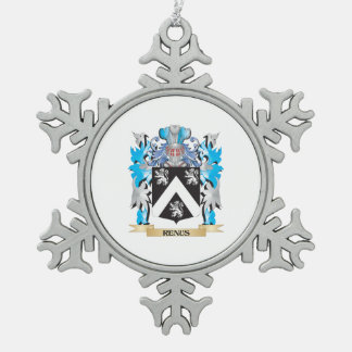 Renus Coat of Arms - Family Crest Snowflake Pewter Christmas Ornament