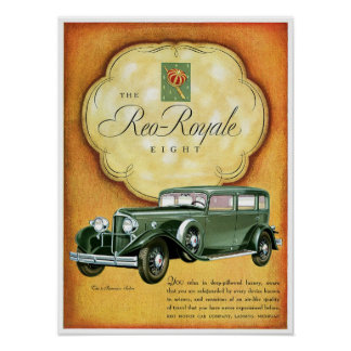 Reo Royale Eight Automobile Ad Vintage Art Poster
