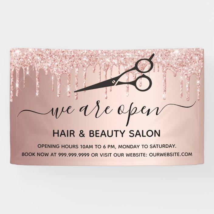 Reopening Hair Beauty Salon Rose Gold Glitter Drip Banner Zazzle Com