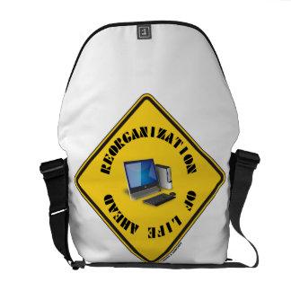 Reorganization Of Life Ahead (Yellow Warning Sign) Messenger Bag