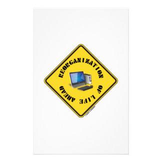Reorganization Of Life Ahead (Yellow Warning Sign) Customized Stationery