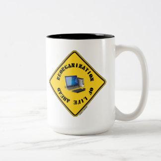 Reorganization Of Life Ahead (Yellow Warning Sign) Two-Tone Coffee Mug