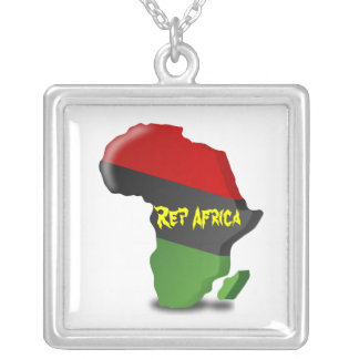 Rep Africa Keychains Square Pendant Necklace