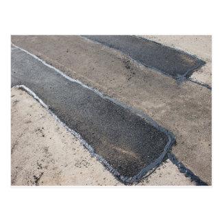 Repair pavement and laying new asphalt postcard